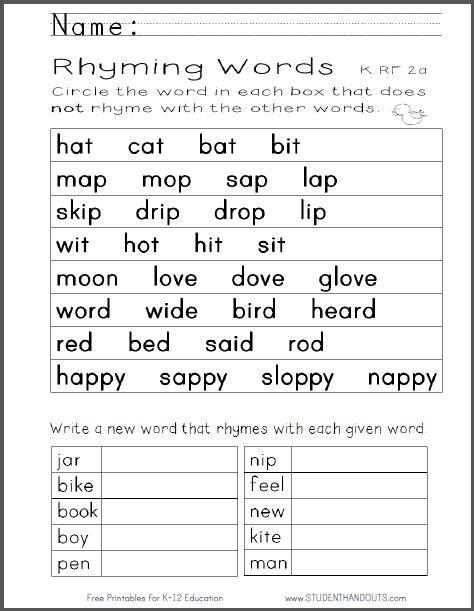 kindergarten rhyming words worksheetpdf