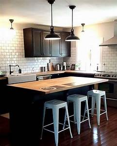 laxarby kitchen cabinets black ikea white metro tile With plan de maison facade 18 cuisine industrielle lelegance brute en 82 photos