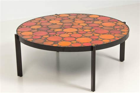 mid century modern coffee table with mosaic tile top
