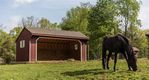 Run In Shed For Horses by One And Two Story Sheds Equine Shelters And Run Ins