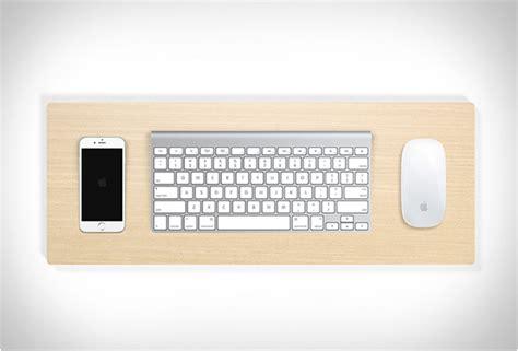 bureau imac support clavier telephone et souris bois arkko
