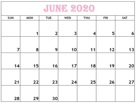 foto de June 2020 Calendar Template With New Timetable in 2020