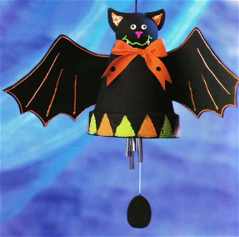 halloween clay pot bat wind chime favecraftscom