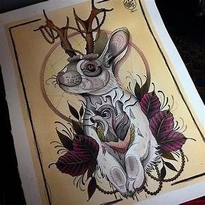 Traditional multicolor rabbit with deer horns and heart ...