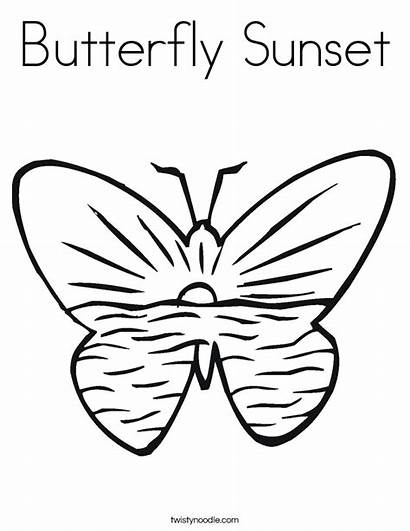 Sunset Coloring Pages Beach Sunrise Butterfly Butterflies