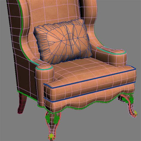 Armchair Throw by Club Armchair With Throw Pillow 3d Model Max Obj 3ds