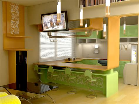 Дизайн кухни с барной стойкой  на Housersu