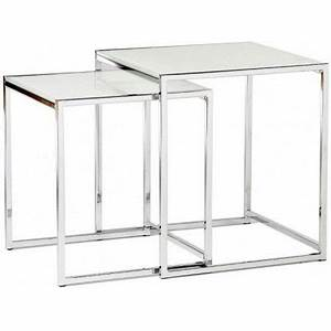 Table Basse Gigogne Verre : tables gigognes en verre tremp blanc cruz achat vente ~ Teatrodelosmanantiales.com Idées de Décoration