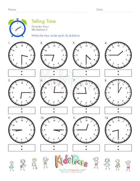 telling time quarter hour worksheet 5 kidspressmagazine com