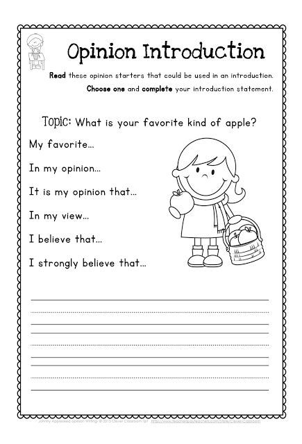 johnny appleseed opinion writing and second grade