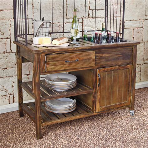 Courtyard Rustic Outdoor Buffet - Patio Accessories at