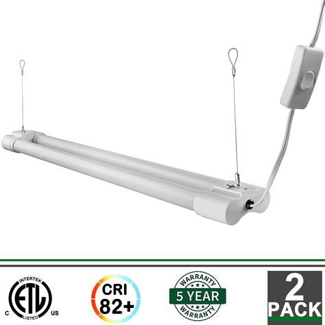 hanging led shop lights 2x 2ft integrated led fixture 5000k 1800 lumens garage