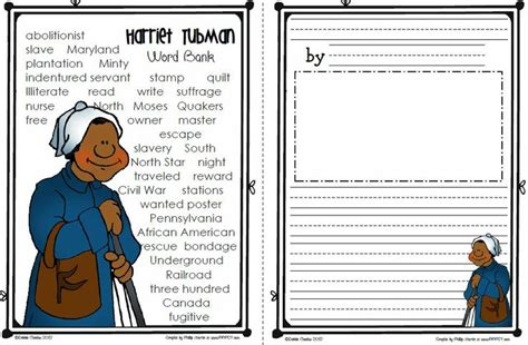Free Printable Black History Worksheets  Harriet Tubman  February  Social Studies, Grade 1