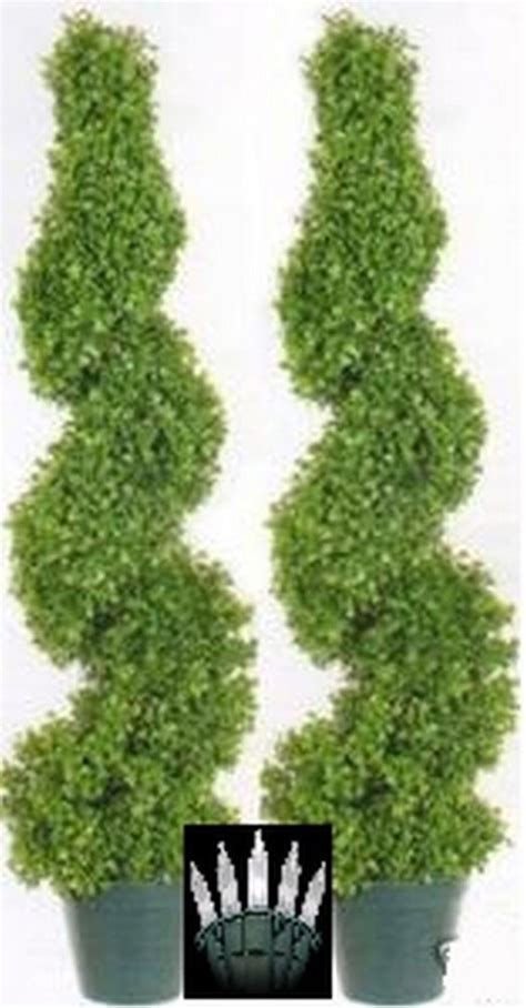 2 artificial 39 quot outdoor boxwood spiral uv topiary 3 tree