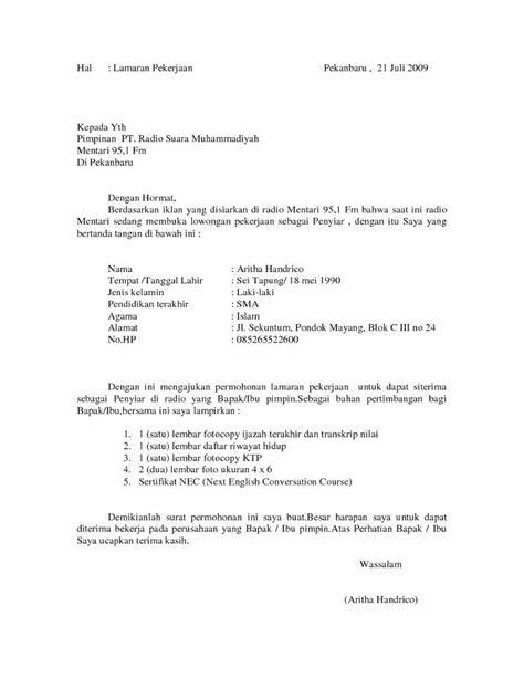 contoh surat lamaran kerja sebagai penyiar radio contoh