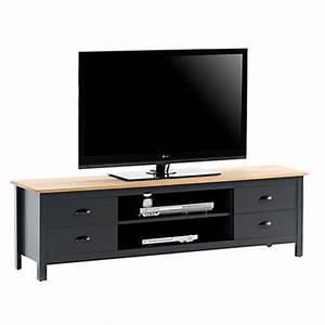 Meuble Bois Et Noir : meuble tv pas cher ~ Dailycaller-alerts.com Idées de Décoration