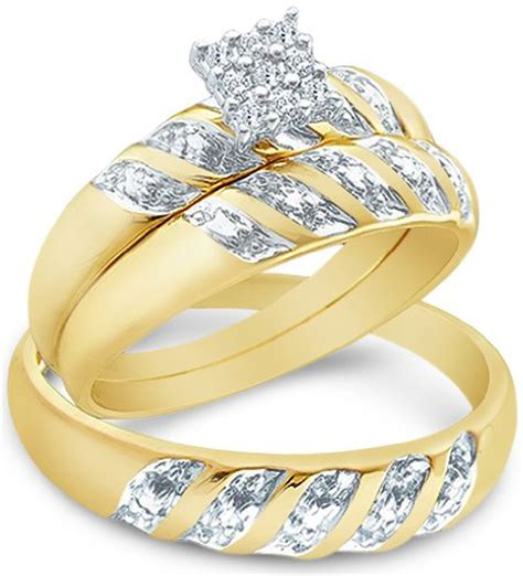 wedding rings his and hers matching sets size 8 5 14k yellow and white 2 two tone gold mens and his hers trio 3 three