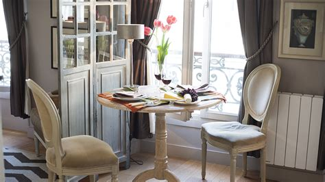 tiny studio apartment  stylish parisian decor