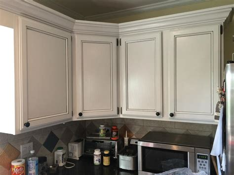 light pewter cabinets  black glaze pin stripes