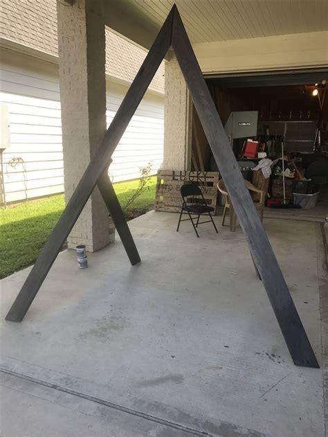 triangle wedding arch geometric ash gray   wed