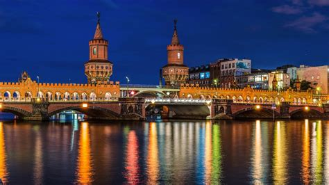 berlin germany city river bridge houses lights