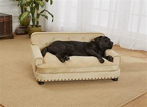 enchanted home pet caramel ultra plush library pet sofa With dog beds in store