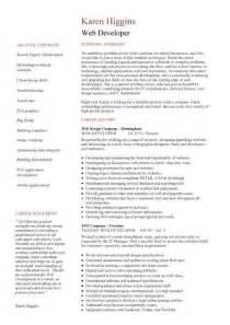 web developer cv template web designer cv sle exle description career history academic qualifications cvs