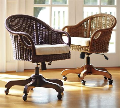 chairs desk wingate rattan swivel desk chair pottery barn au