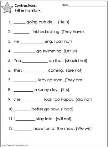 contractions worksheet  worksheets grammar worksheets
