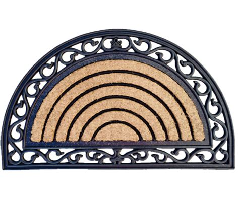 semi circle doormat semi circle ribbed rubber coir doormat