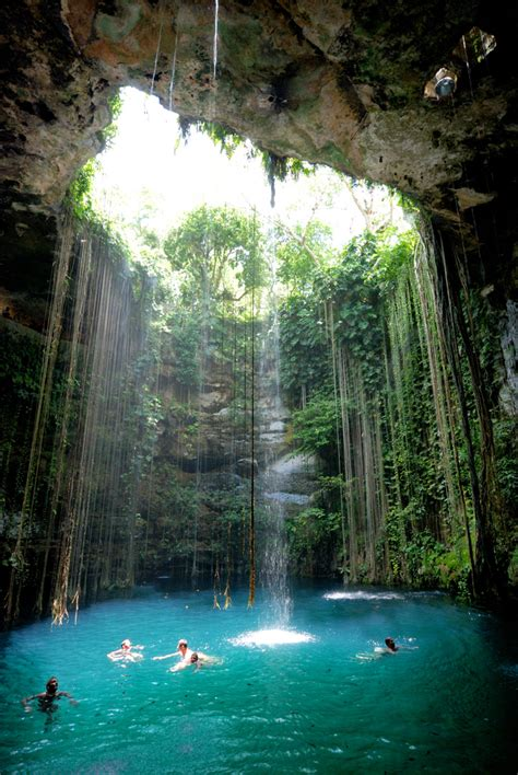 hidden cave pool  mexico  beautiful places