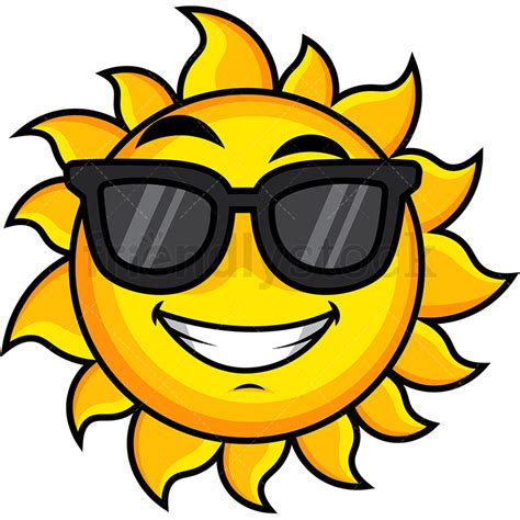 Cool Sun Wearing Sunglasses Emoji Cartoon Vector Clipart ...
