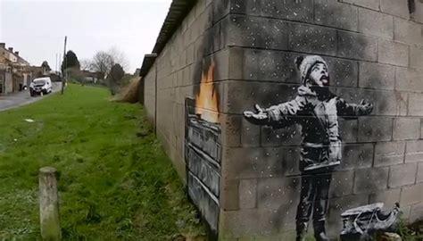 banksy artwork appears  wales garage newshub