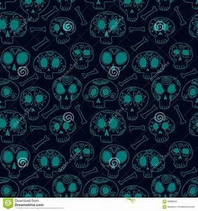 Vector Seamless Pattern With Skulls Vector Illustration