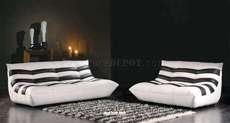 striped black  white leather  piece modern living room