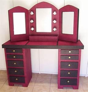 ARTISANAT D'ART meuble coiffeuse carton miroir Coiffeuse