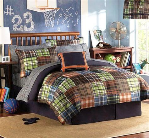 boys complete bedroom set brown blue orange green plaids and stripes boys
