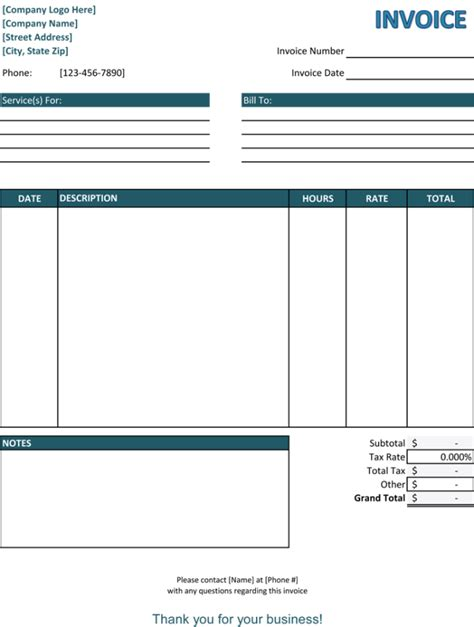 service invoice templates   word excel  samples