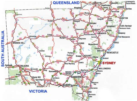 south wales road map nsw