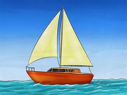 Sailboat Draw Kapal Gambar Boat Layar Wikihow