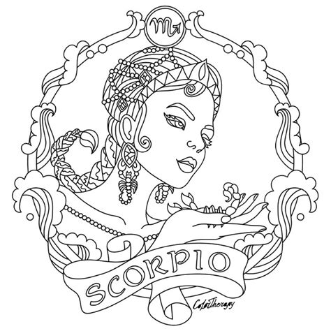 scorpio zodiac beauty colouring page embroidery adult