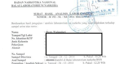 surat keterangan bebas narkoba tulisan hesty wulandari