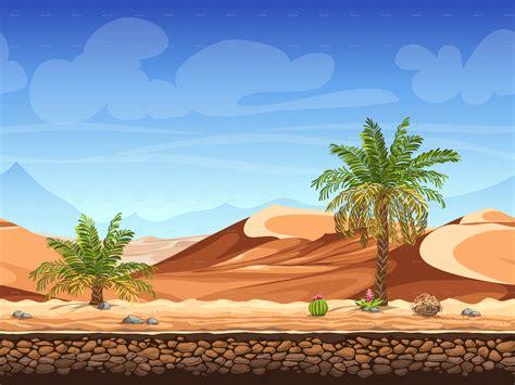 palm trees  desert seamless background  nearbirds
