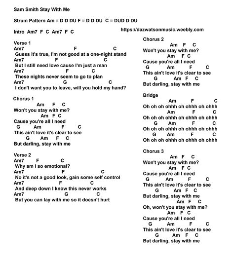 Apply the above strum to them and you should be well on your way. sam smith stay with me chords and strum pattern | Guitar songs for beginners, Ukulele chords ...