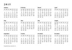 Printable 2015 Yearly Calendar Template