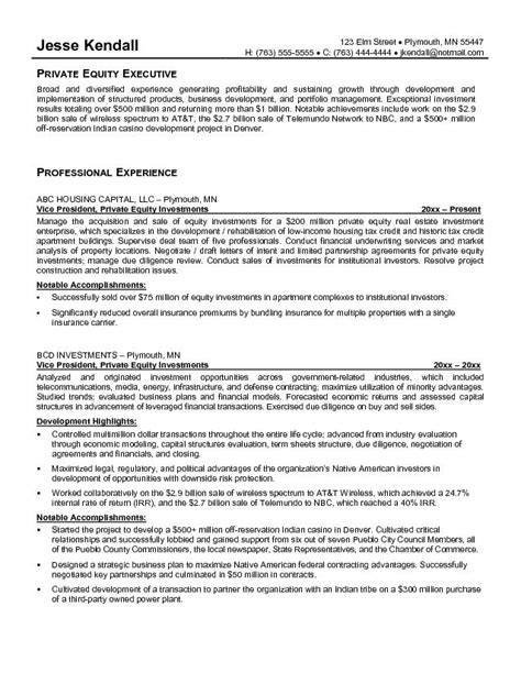 ideas collection venture capital resume sle on exle