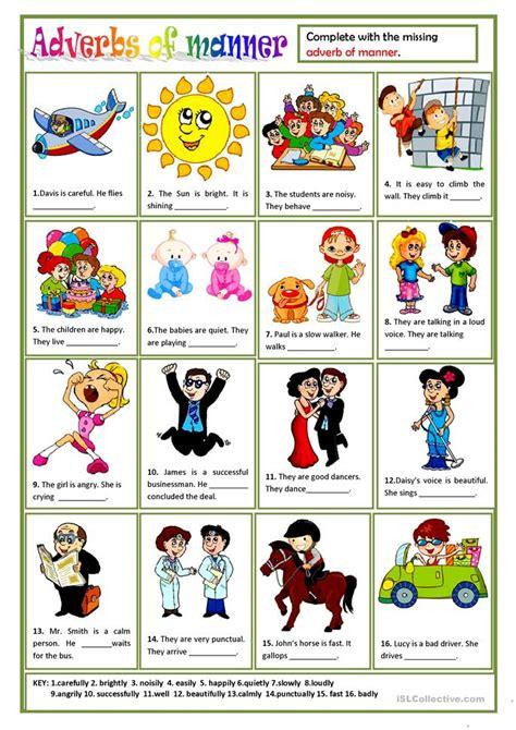 esl adverbs  manner worksheets