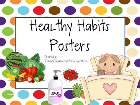 Kids learn better eating habits when schools provide healthy foods. Healthy Habits Posters - Back to School - Health - Dots | School health, School nurse office ...