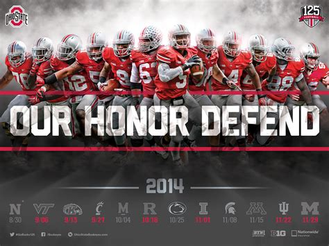 ohio state football  schedule poster