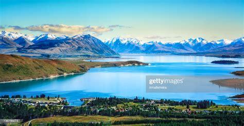 Aerial View Of Lake Tekapo Canterbury New Zealand Stock
